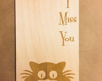 Wooden postcard. I Miss You