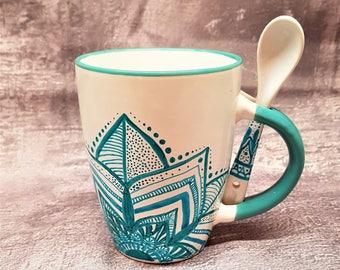 Mandala OM Ceramic Mug Hand-Painted white and turquoise