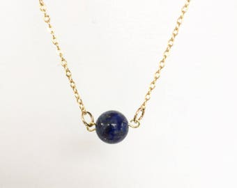 "Delicate Gold Necklace: ""GANGES"" with Lapis Lazuli"