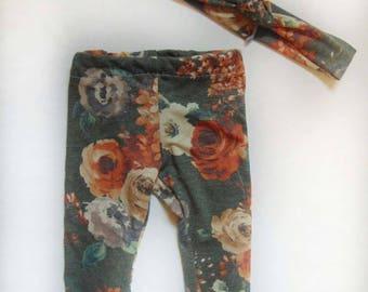 olive floral leggings