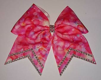 Hearts cheer bow. Heart hair bow. Pink hair bow