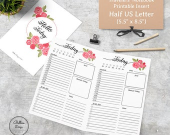 5.5 x 8.5 Planner Printables, Half Size Planner Inserts, Daily Digital Planner, Daily Planner Notebook, Planner Half Size, Day on a Page