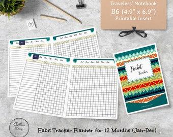 Habit Tracker Printable, 12 Months Planner, Habit Tracker B6, Habit Tracker Monthly, B6 Printable Inserts, Habits Planner, Daily Tracker