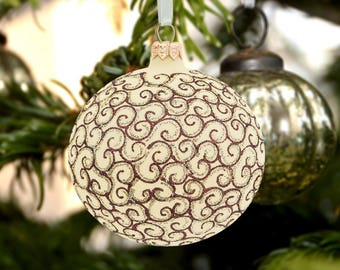 Hand paint ornament-ornamental tree ball-xmas decor bauble-handmade gift bauble-unique xmas gift-decorative glass ball-holiday décor ball-70