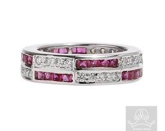 Red ruby and cz sterling silver rhodium plated eternity ring