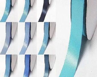 "Yama brand blue 303-322 double faced satin ribbon By the 5 or 100 Yards Top Quality Silky Ribbon 3/8"",2/1"",7/8"",1"",1.5"",2"",2.5"",3"" 28800"