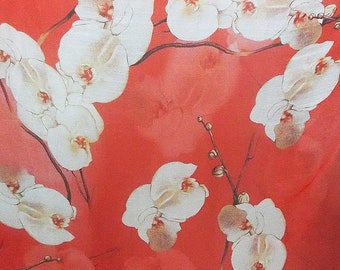 Pure Mulberry Silk dpc-42150 Stunning Flower Pattern on red Digital Print 6mm Pure Silk Chiffon Fabric material sheer