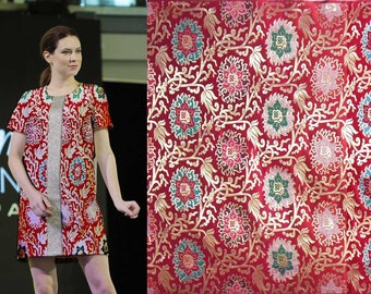Discount Clearance meter heavy Colorful Wealthy on Red Asian Chinese Brocade Silk Fabric Motif 29 inch/73cm W, CBS-817