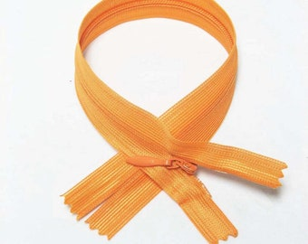 "Tangerine 16"" inches 40cm invisible nylon hidden zipper zips zip close end for closure (yinsin- zip-16in-668 )"