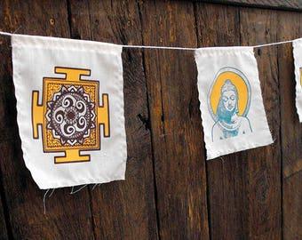 Buddha prayer flags handmade screen printed set of five yoga studio mandala tantra decorative wall art meditation new age lotus om banner