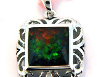 AAA quality Canadian Ammolite Pendant set in Sterling Silver.