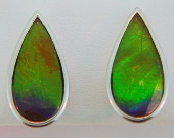 Pair of Long  Pear Shape Canadian Ammolite Stud Earrings set in Sterling Silver.