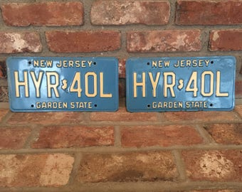 Vintage New Jersey License Plate Set Cream and Blue HYR 40L, Blue License Plate, Vintage 1980s License Plates, Blue New Jersey License Plate