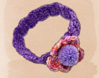 Pom Pom Headband, Flower Headband, Head band for Her, Crochet Headband, Pom Pom Hair Accessary, Crochet Hair Accessary, Girls Headband,