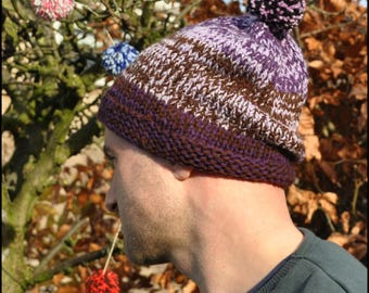 Pom Pom Hat, Hand Knitted Hat, Hat for Him, Hat for Her, Adult Hat, Beanie Hat, Stocking Filler, Secret Santa Gift, Knitted Hats, Woolly Hat