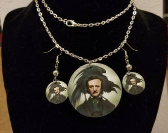 Edgar Allen Poe Necklace and Earrings