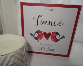To My Fiancé with love at Christmas - Handmade Card