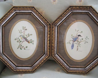 """A Set of 2 Octagon Framed """"Bird on Branch"""" Watercolor Painting By E. Guiotolli"""