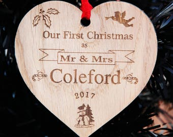 Personalised Engraved Heart Decoration 'Our First Christmas' Mr&Mrs