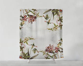 Vintage Tropical Flowers shower curtain - Bathroom art  - Bohemian - Home decor - Bathroom Sets - unique wedding gift for couple S#61