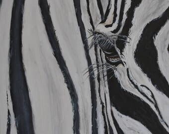 Zebra Glance black&white acrylic painting wall decor