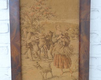Old embroidery on canvas Victorian Style, represent a moment from Pesantry Life, nice decor, wall hanging frame