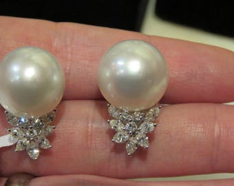 Last Call!! 38000 Gorgeous Rare 18KT White Gold Magnificent Large 15.5MM South Sea Pearl and Diamond Earrings