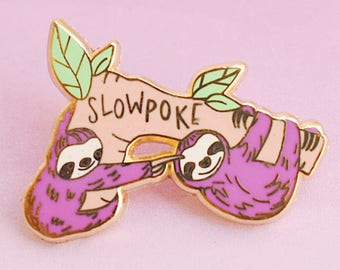 Purple Sloth Slowpoke Enamel Pin