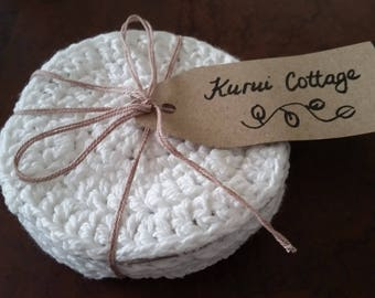 Set of 4 Hand Crocheted Coasters, 100% Cotton