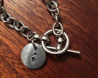 semicolon hand stamped bracelet