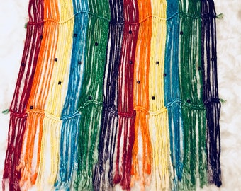 Rainbow macrame tapestry