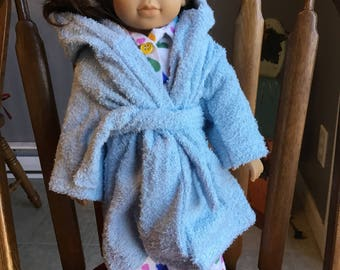 "Flannel pajamas with terry cloth robe fits 18""dolls such as American girl"