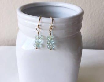 Aquamarine earrings, dainty earrings, simple earrings, ,gift for her,aquamarine,birthday gift,gold fill earrings,aquamarine rondelles