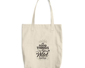 Wild and Free Cotton Tote Bag