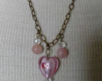 Awesome SWEET Pink Heart Rose Quartz With Crystal Bead Necklace & Earrings Set