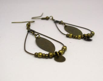 Bronze/Shuttle/circle/beads/gift/hippie chic/bohemian drop shape earrings