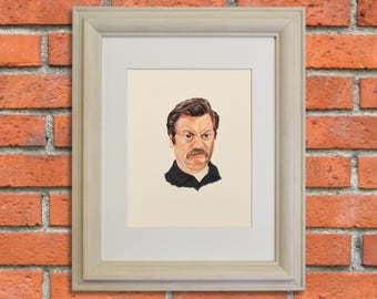 RON SWANSON, Parks and Recreation, Celebrity Portrait, Nick Offerman, TV Show Art, Giclee Fine Art Print of Original Gouache Painting