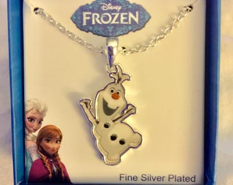 Olaf Necklace (Official) Disney Frozen , Silver-Plated