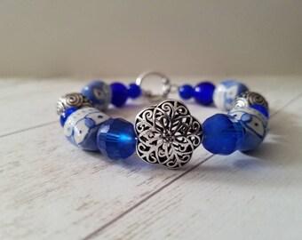Blue Owls Beaded Bracelet