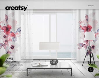 Long Curtains Mockup Set, Courtain Template, PSD, Interior Template, Living  Room Curtain