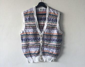 Vintage Grand Slam munsing wear nice design  hand knit vest