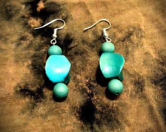 Turquoise Wooden Bead Earrings