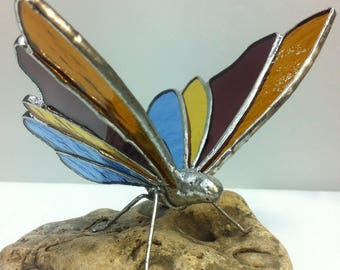 Multicolored Tiffany stained glass butterfly