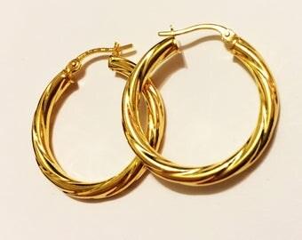 """14k solid yellow gold(1.50""""inch)Italian swirly hoop earrings"""