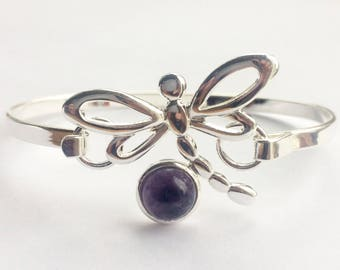 Beautiful amethyst cabochon dragonfly bangle