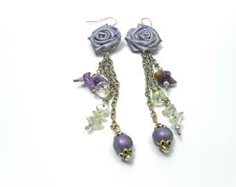 Rose earrings ,Amethyst earrings,  Quartz earrings,  Polymer clay earrings,  Purple earrings