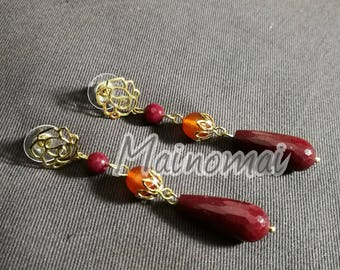 Gold plated brass earrings with agate and carnelian