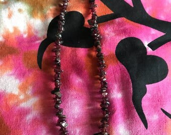 Garnet and clear quartz necklace