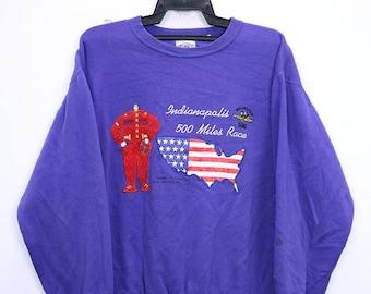 Vintage Indianapolis 500 miles race Sweatshirt Big Embroidered Logo Large size Purple colour