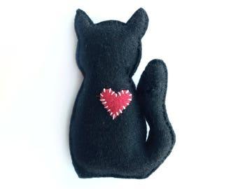 Black Cat Silhouette Cat Toy, Catnip Cat Toy, Cute Cat Toy, Cat Lover Gift, Catnip Toy, Felt Cat Toy, Black Cat Toy, Cat Toys